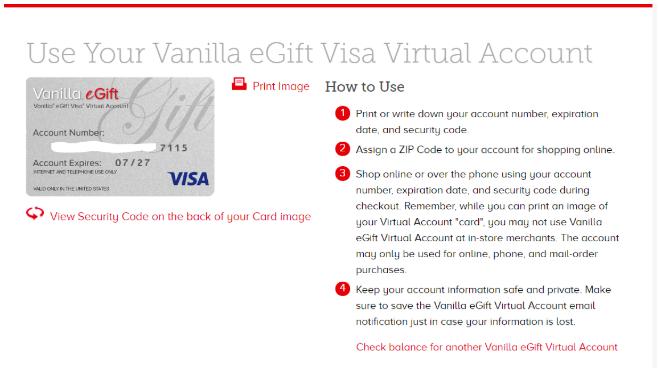 Vanilla eGift Visa - Redemption Instructions – eGifter Support